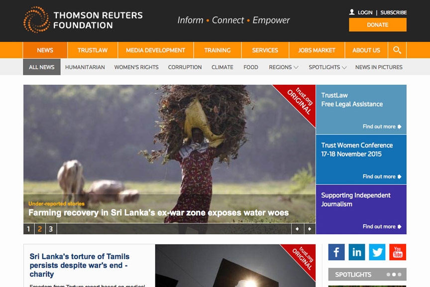 Thomson Reuters Foundation webpage