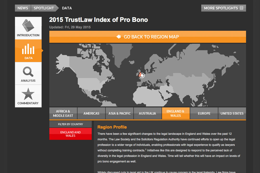 TrustLaw Index of Pro Bono webpage