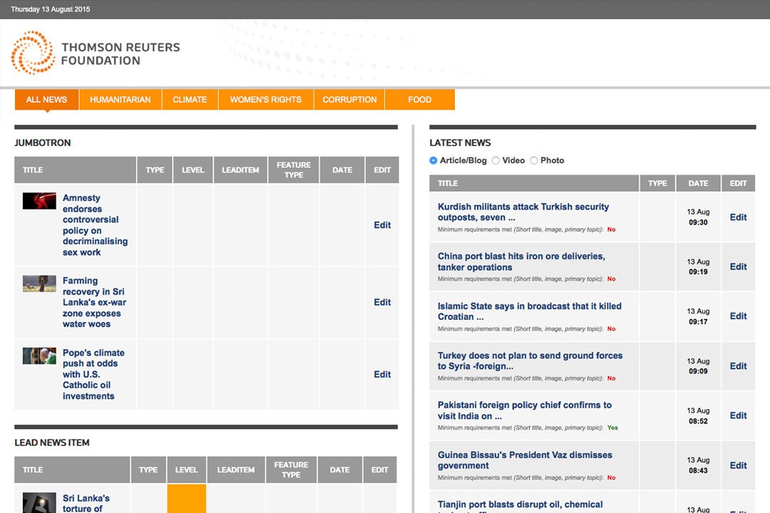 Thomson Reuters Newsroom Dashboard